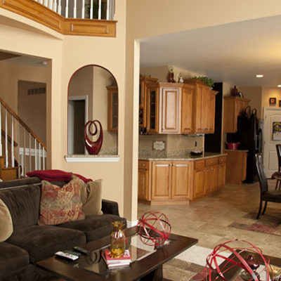 The homeowner's favorite color is red so we used red as an accent color in the design.